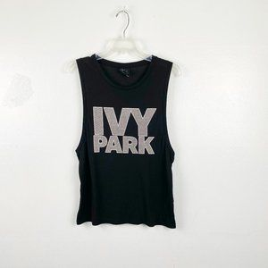 Ivy Park | Black Graphic Muscle Tank Tee Small